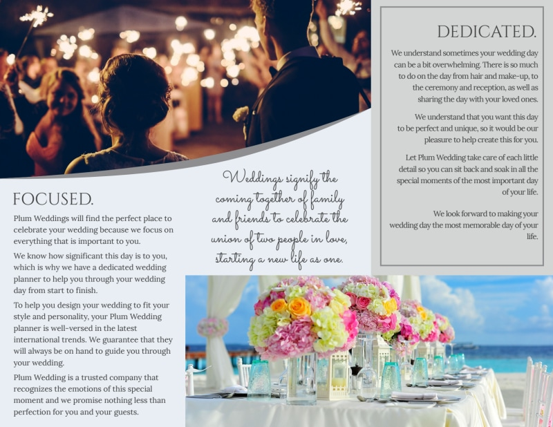 Plum Wedding Planner Brochure Template Preview 3