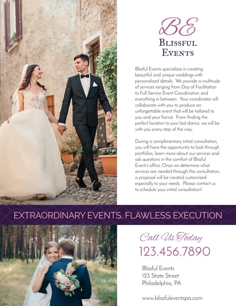 Blissful Wedding Planner Flyer Template Preview 3
