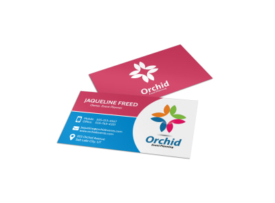 Orchid Event Planner Business Card Template preview