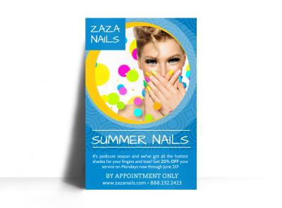 Summer Nail Salon Poster Template