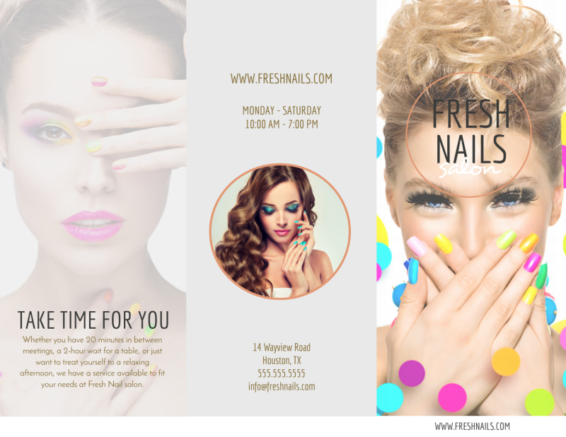 Fresh Nail Salon Price List Tri-Fold Brochure Template Preview 2