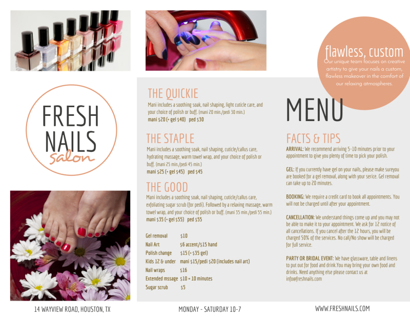 Fresh Nail Salon Price List Tri-Fold Brochure Template Preview 3
