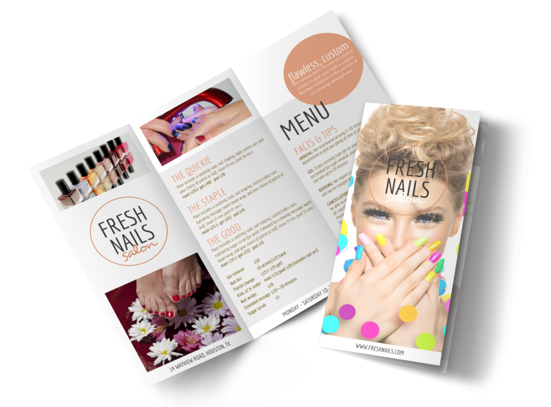 Fresh Nail Salon Price List Tri-Fold Brochure Template Preview 1