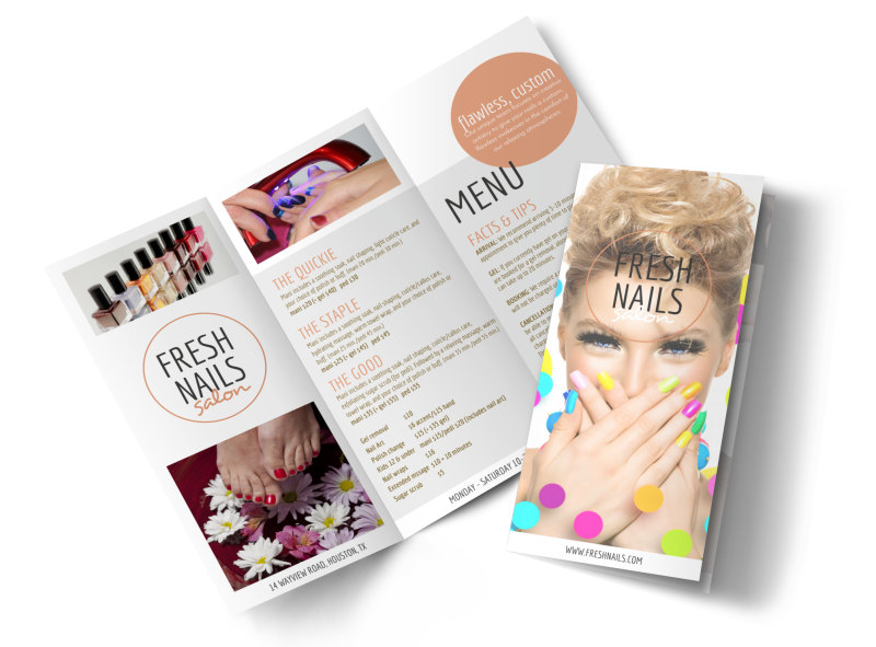 Fresh Nail Salon Price List Tri-Fold Brochure Template