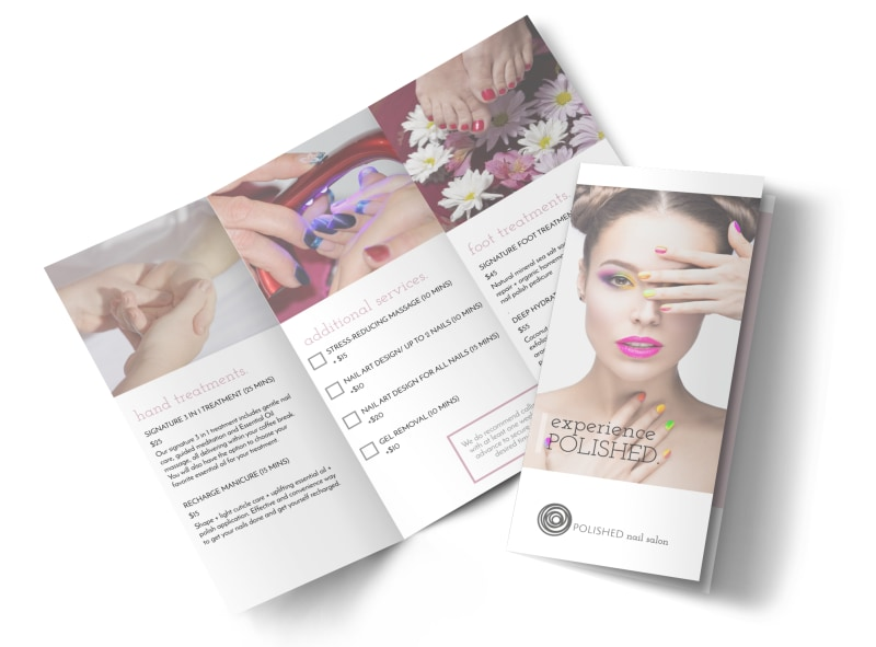 Polished Nail Salon Tri-Fold Brochure Template