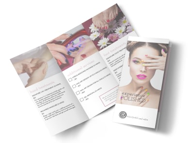 Polished Nail Salon Tri-Fold Brochure Template preview