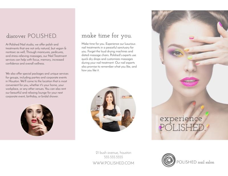 Polished Nail Salon Tri-Fold Brochure Template Preview 2