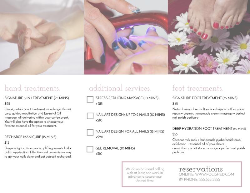 Polished Nail Salon Tri-Fold Brochure Template Preview 3