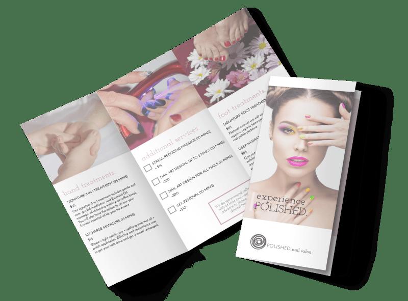 Polished Nail Salon Tri-Fold Brochure Template Preview 1