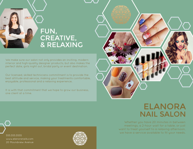 Elanora Nail Salon Bi-Fold Brochure Template Preview 2