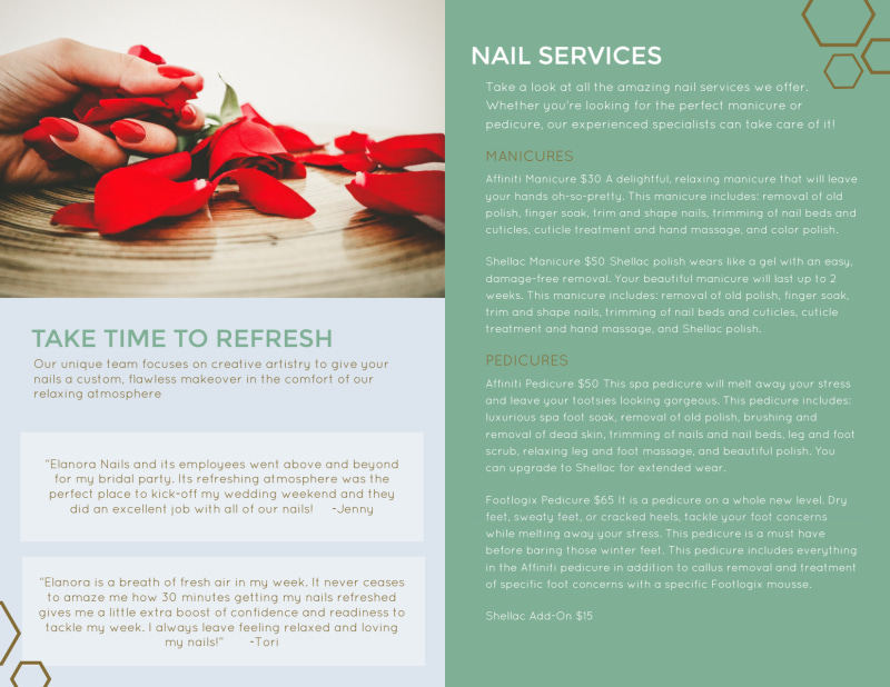 Elanora Nail Salon Bi-Fold Brochure Template Preview 3