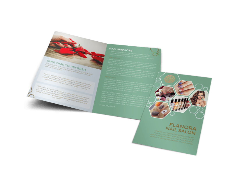 Elanora Nail Salon Bi-Fold Brochure Template Preview 1