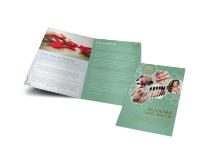 Elanora Nail Salon Bi-Fold Brochure Template preview