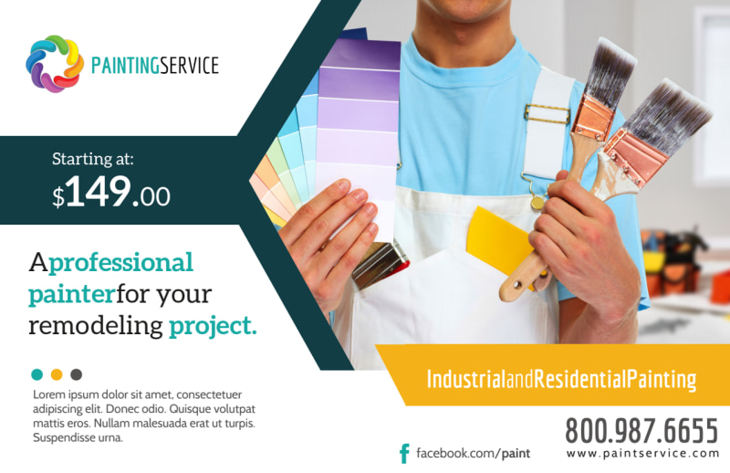 Pro Painting Service Postcard Template Preview 2