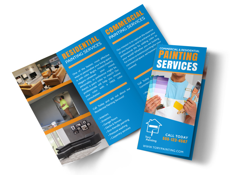 Painting Service Tri-Fold Brochure Template Preview 4