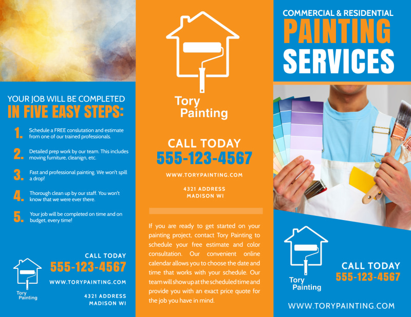 Painting Service Tri-Fold Brochure Template Preview 2