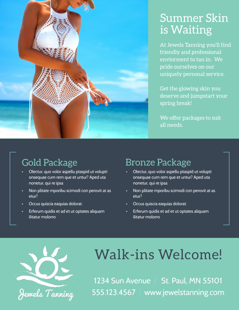 Promo Tanning Salon Flyer Template Preview 3
