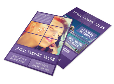 Spiral Tanning Salon Flyer Template preview