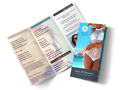 Top Tanning Salon Tri-Fold Brochure Template preview
