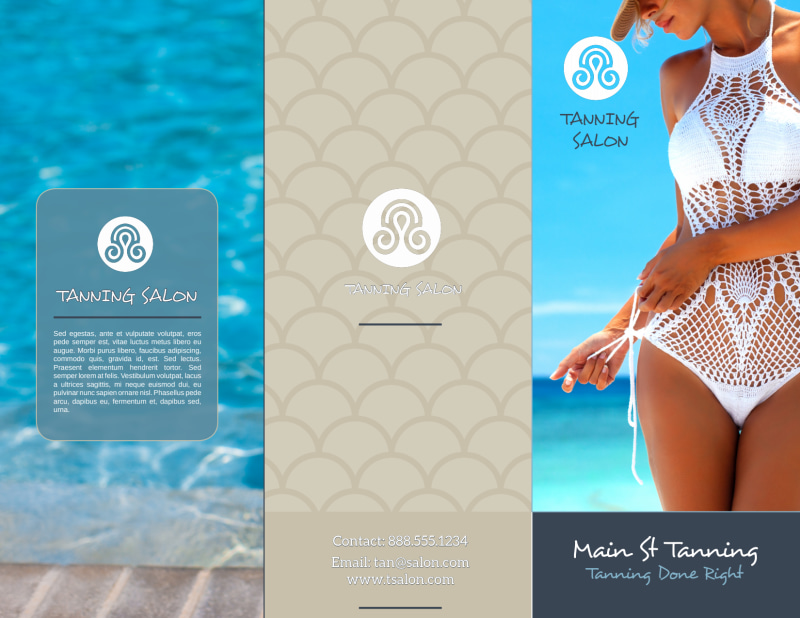 Top Tanning Salon Tri-Fold Brochure Template Preview 2