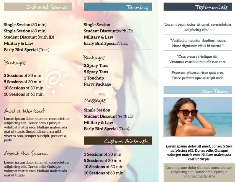 Top Tanning Salon Tri-Fold Brochure Template Preview 3