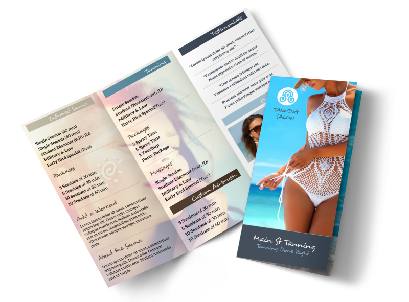 Top Tanning Salon Tri-Fold Brochure Template Preview 1