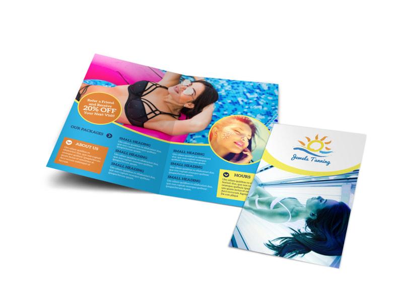 Simple Tanning Salon Bi-Fold Brochure Template