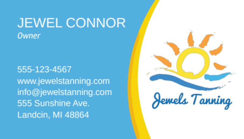 Jewel Tanning Salon Business Card Template Preview 2