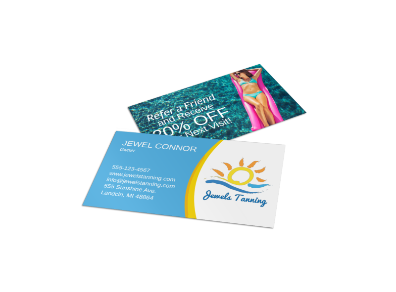 Jewel Tanning Salon Business Card Template Preview 1