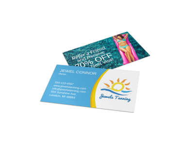 Jewel Tanning Salon Business Card Template preview