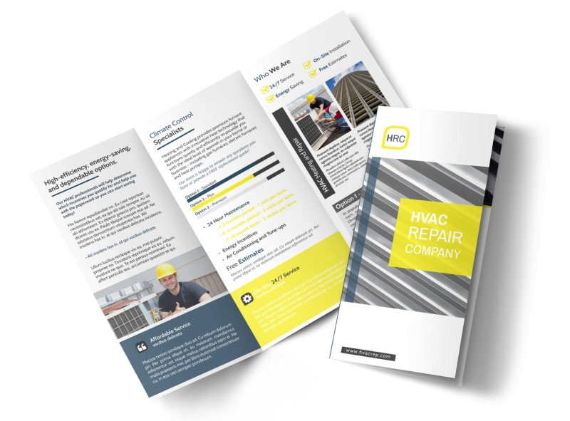HVAC Repair Company Tri-Fold Brochure Template