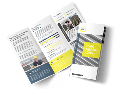HVAC Repair Company Tri-Fold Brochure Template preview