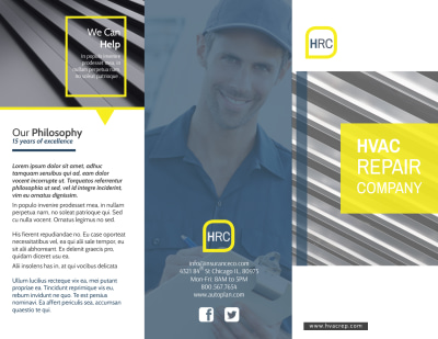 HVAC Repair Company Tri-Fold Brochure Template Preview 1