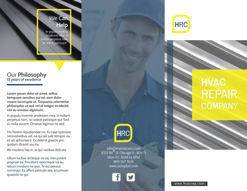 HVAC Repair Company Tri-Fold Brochure Template Preview 2