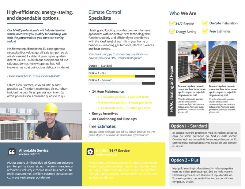 HVAC Repair Company Tri-Fold Brochure Template Preview 3