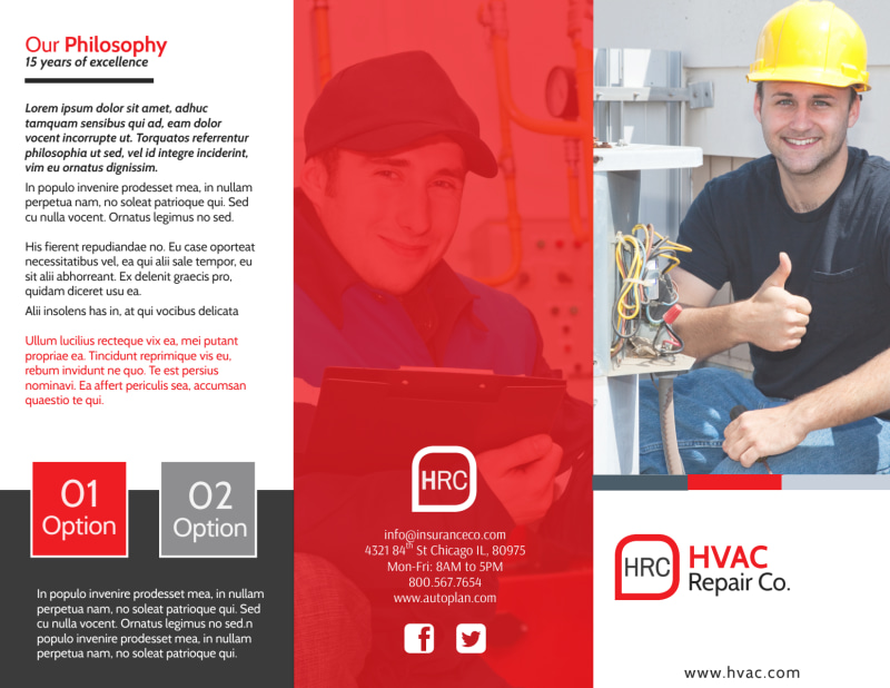 HVAC About Us Tri-Fold Brochure Template Preview 2