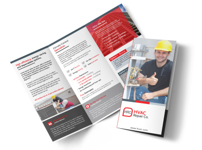 HVAC About Us Tri-Fold Brochure Template preview