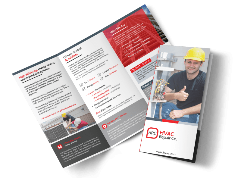 HVAC About Us Tri-Fold Brochure Template Preview 1