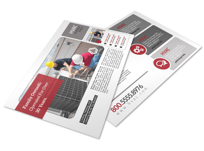 Red & White HVAC Postcard Template Preview 1