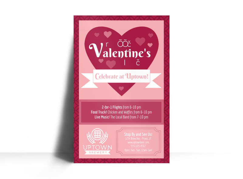 Valentine S Day Flower Poster Template Mycreativeshop