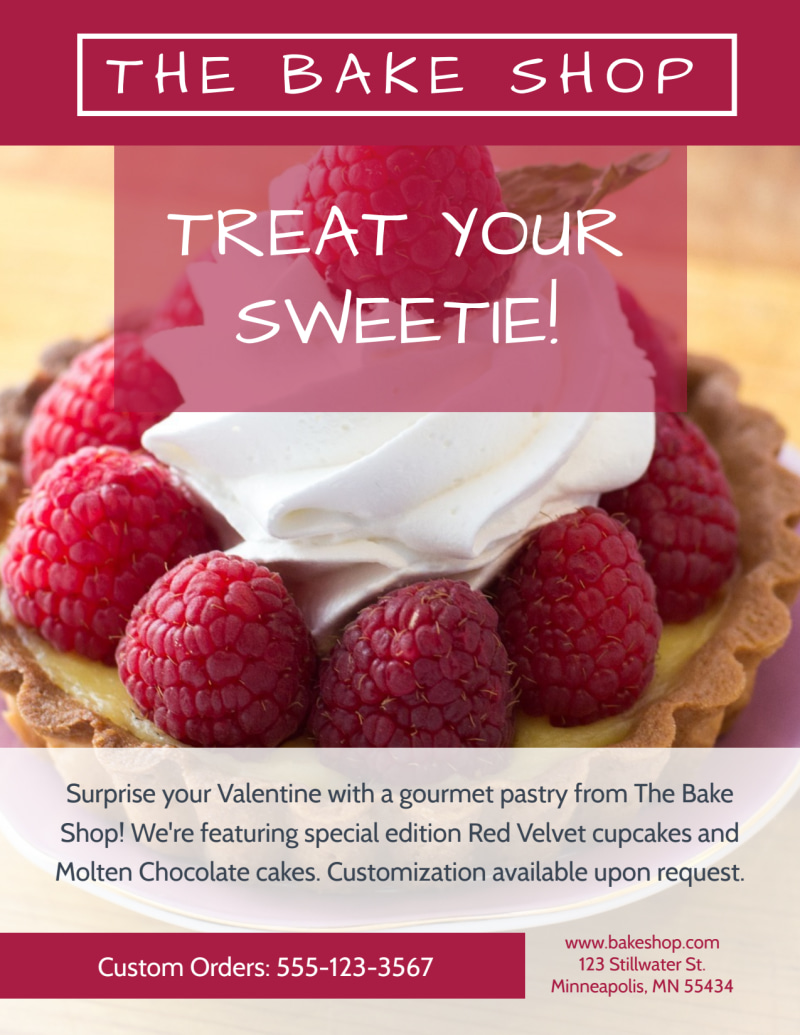 Bake Shop Valentine's Day Flyer Template Preview 2