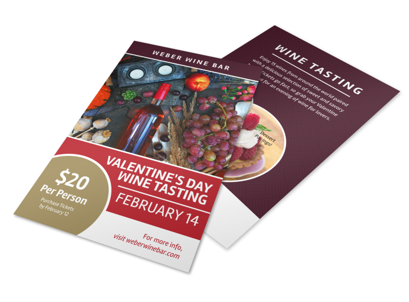 Valentines Day Wine Tasting Flyer Template
