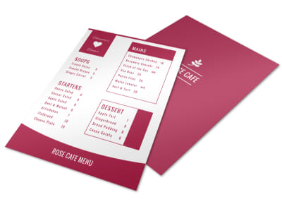 Rose Valentine's Day Menu Template