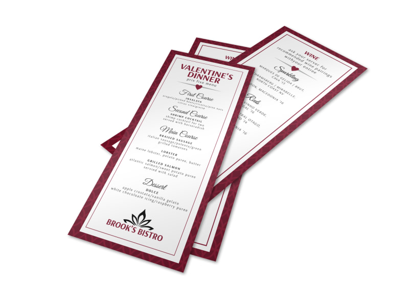 Valentine S Day Menu Template Mycreativeshop