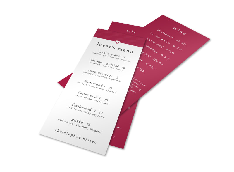 Valentine S Day Dinner Menu Template Mycreativeshop