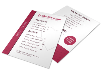 Valentine's Day Brunch Menu Template