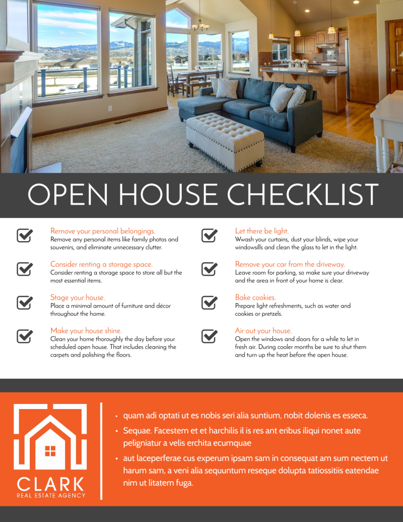 Real Estate Open House Checklist Flyer Template Preview 2