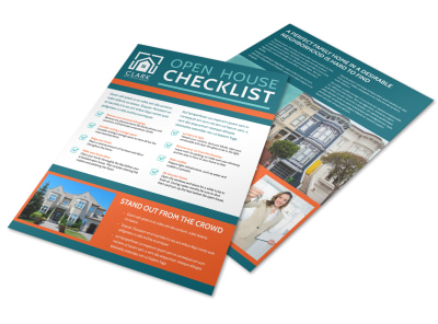 Teal Open House Checklist Flyer Template