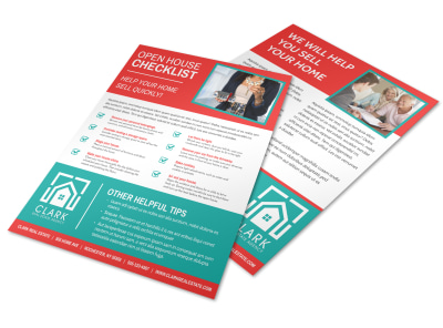 Red Open House Checklist Flyer Template preview