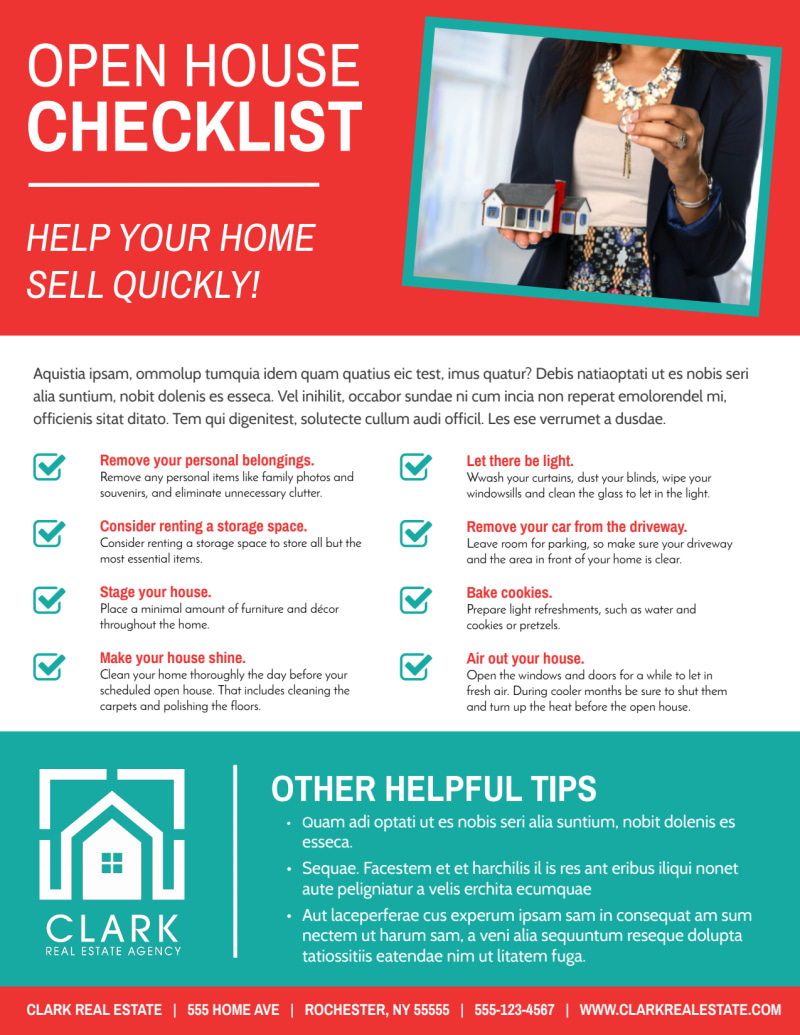 Red Open House Checklist Flyer Template Preview 2